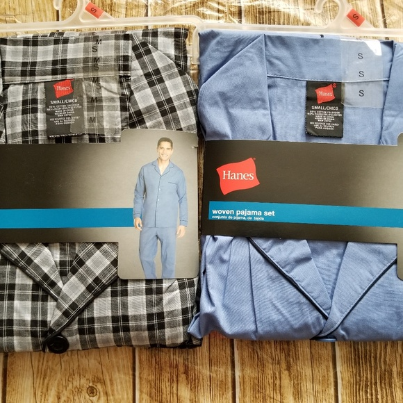 Hanes Mens 2-Piece Blue Striped Woven Sleepwear Pajama Set Sleep Set